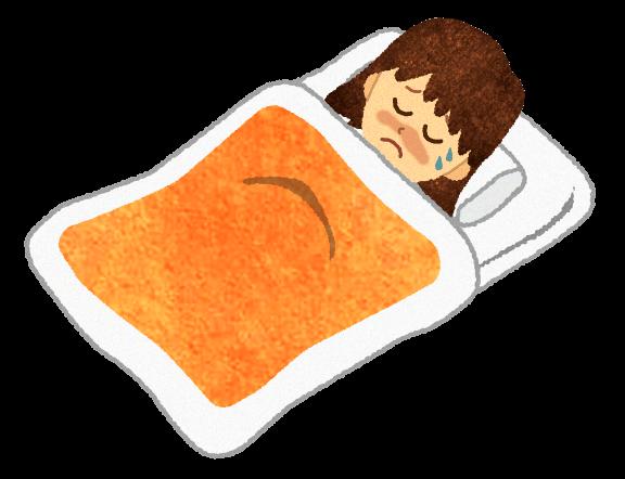 【無料素材】風邪で寝ている女の子のイラスト