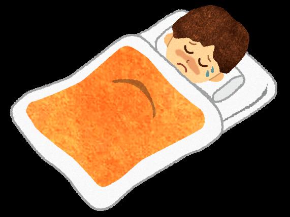 【無料素材】病気で寝ている男のイラスト