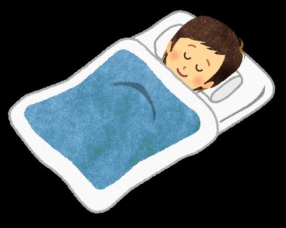 【無料素材】布団に寝ている男性のイラスト