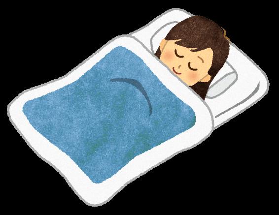 【無料素材】すやすや寝ている女性のイラスト