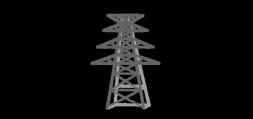 送電線、電波塔のイラスト