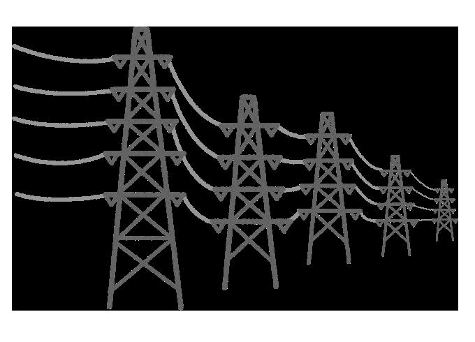 【無料素材】街の送電線のイラスト