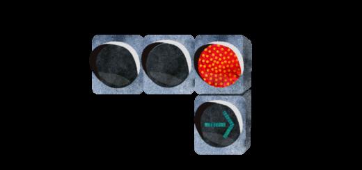 右折可能→点灯信号機のイラスト