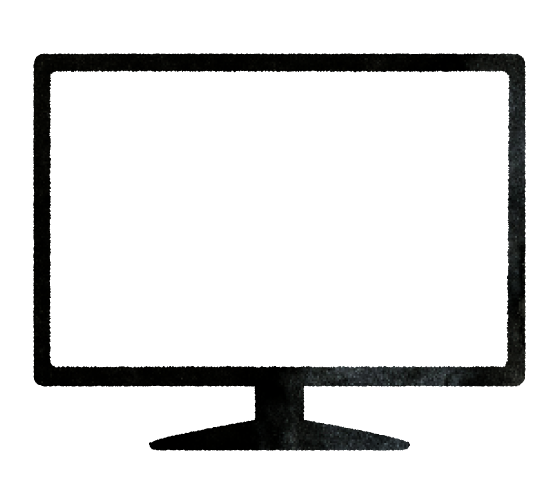 【無料素材】モニターの白画面イラスト