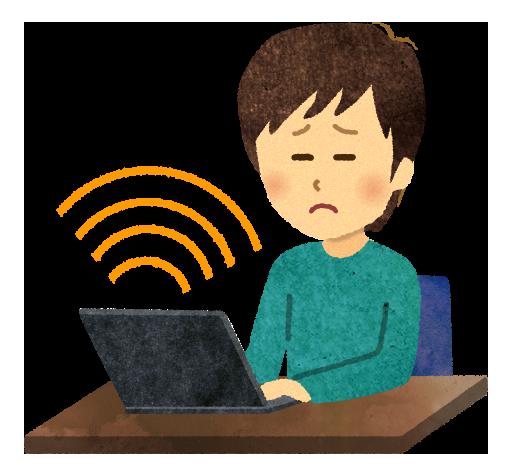 【無料素材】電磁波の出るパソコンを操作する男性