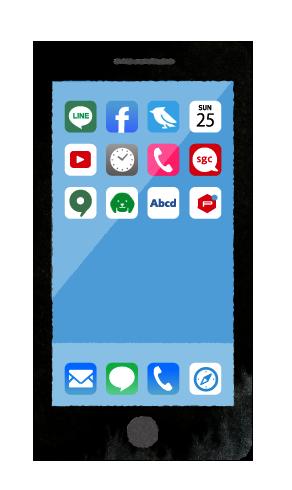 【無料素材】スマホのホーム画面アプリアイコンのイラスト