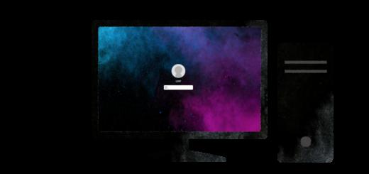 液晶ディスプレイとパソコンのイラスト