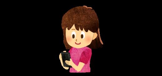 スマホをスワイプする女の子のイラスト