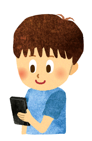 【無料素材】子供のスマホ依存のイラスト