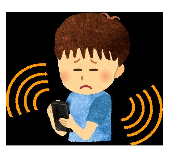 【無料素材】スマホの電磁波で具合が悪い男の子のイラスト