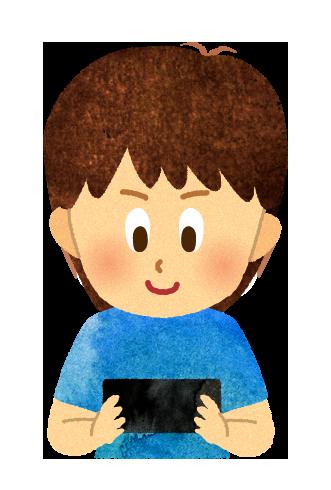 【無料素材】スマホゲームに熱狂する男の子のイラスト