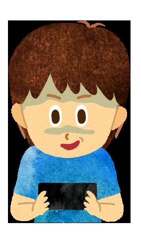 【無料素材】スマホ依存症の子供のイラスト