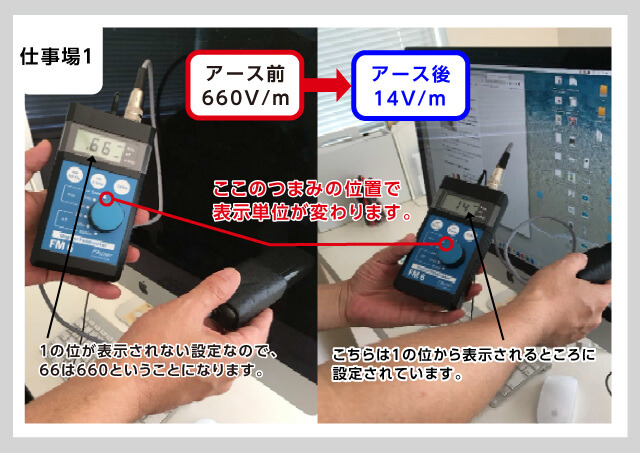 アース処理したパソコン電磁波数値の変化