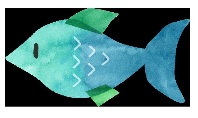 【無料素材】青い魚のイラスト
