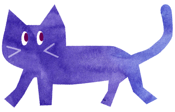【無料素材】紫色の猫のイラスト