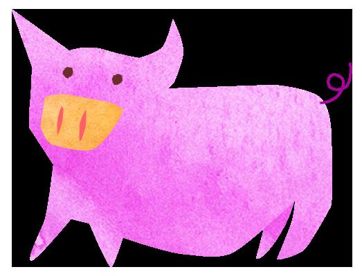 【無料素材】まるまるとした豚のイラスト