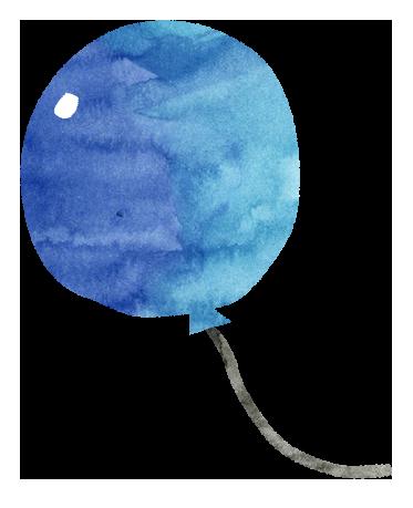 【無料素材】青いふうせんのイラスト