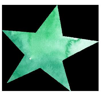 【無料素材】緑色の星のイラスト