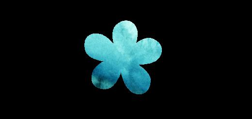 エメラルドグリーンのお花のイラスト