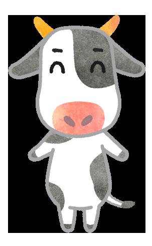 【丑年年賀状素材】笑顔の牛のイラスト