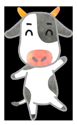 【無料素材】はーい!笑顔の牛さんイラスト