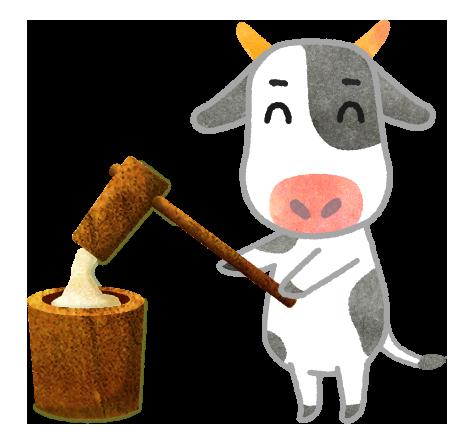 【無料素材】餅をついている牛のイラスト