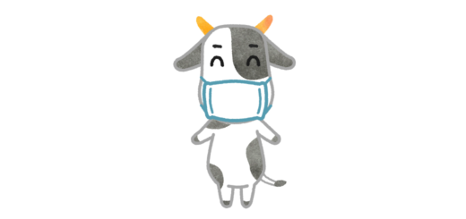 マスク着用牛イラスト