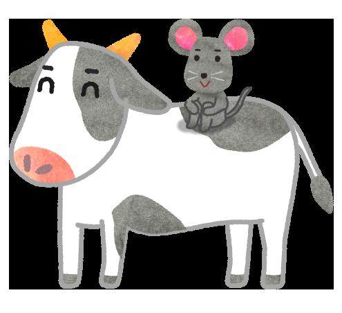 【無料年賀状素材】ねずみから牛へバトンタッチイラスト