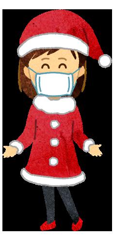 【クリスマス無料素材】マスクを付けたサンタコスプレ女性のイラスト