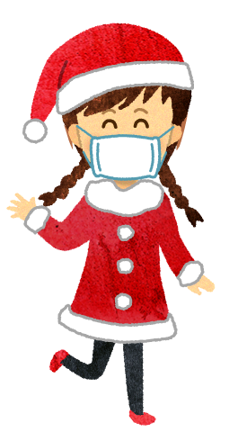 【無料素材】サンタクロースの格好をしたマスクを付けた女の子のイラスト