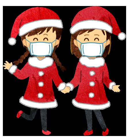 【無料素材】サンタコスプレの女の子達(マスク)のイラスト