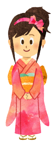 【お正月素材】振り袖を着たかわいい女性のイラスト