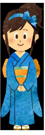 【無料素材】着物を着た女の子のイラスト