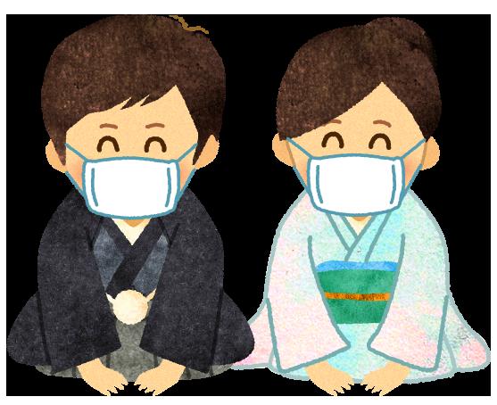 【無料素材】マスクを付けて感染対策をする大将と女将のイラスト