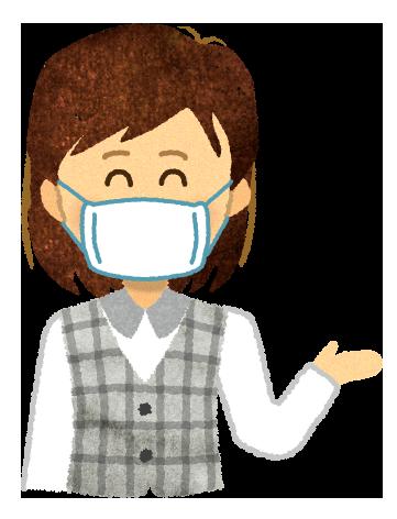 【無料素材】マスクを付けて案内する受付嬢のイラスト