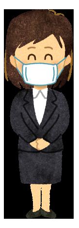 【無料素材】マスクを付けた会社員の女性のイラスト