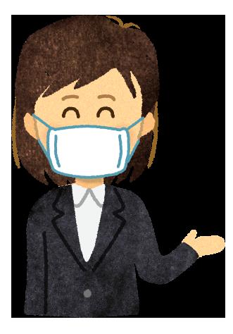 【無料素材】マスクをつけて説明している女性のイラスト