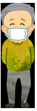 【無料素材】マスク着用のおじいちゃんイラスト