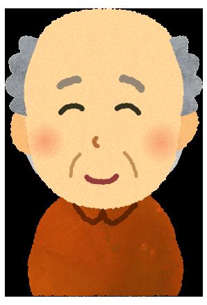 【無料イラスト】薄い毛の高齢者のイラスト
