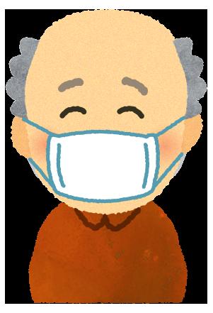 【無料素材】マスクを付けたご老人のイラスト