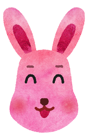 【無料素材】にこにこピンクうさぎのイラスト