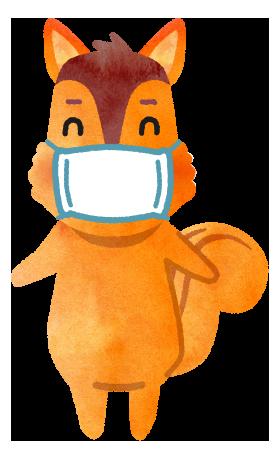 【無料素材】マスクを付けたリスのイラスト