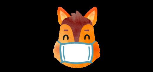 風邪を引いてマスクを付けているリスのイラスト