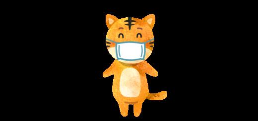 マスクをつけたネコのイラスト
