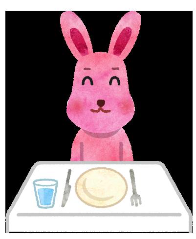 レストランのテーブルに座るうさぎのイラスト