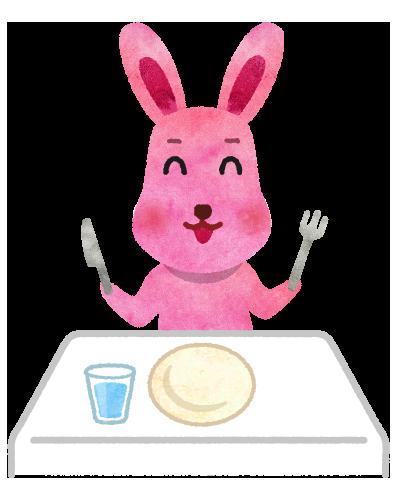 ナイフとフォークを持つウサギのイラスト
