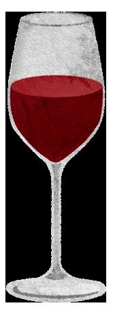 赤ワイングラスのイラスト