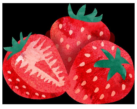 集まるイチゴのイラスト