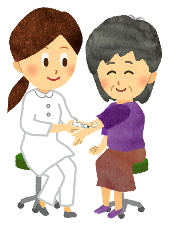 ワクチン接種している年配の女性