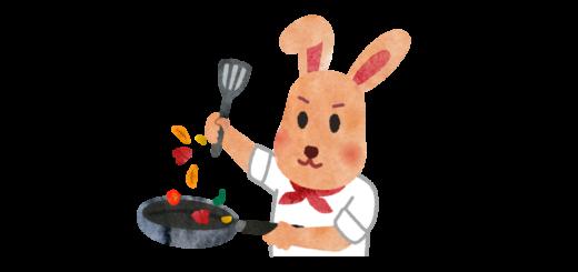 野菜を炒める料理人のイラスト